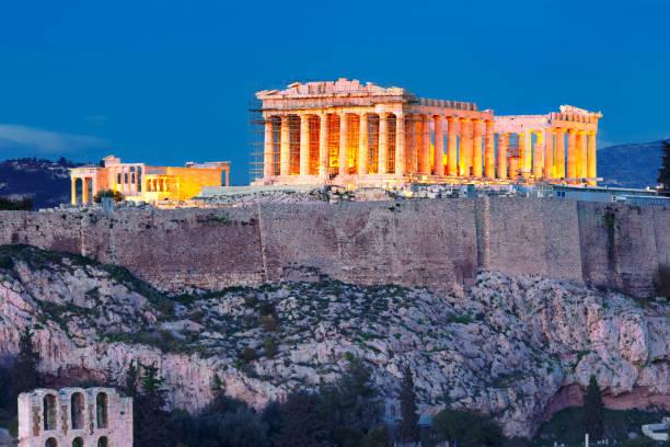Acropolis Hill and Parthenon in Athens, Greece stock photo