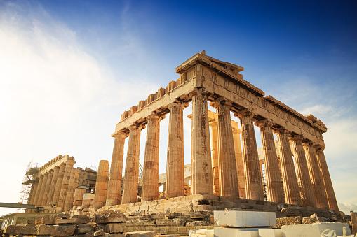 Acropolis Hill, Parthenon, Athens, Greece. Odeon Herodes Atticus.