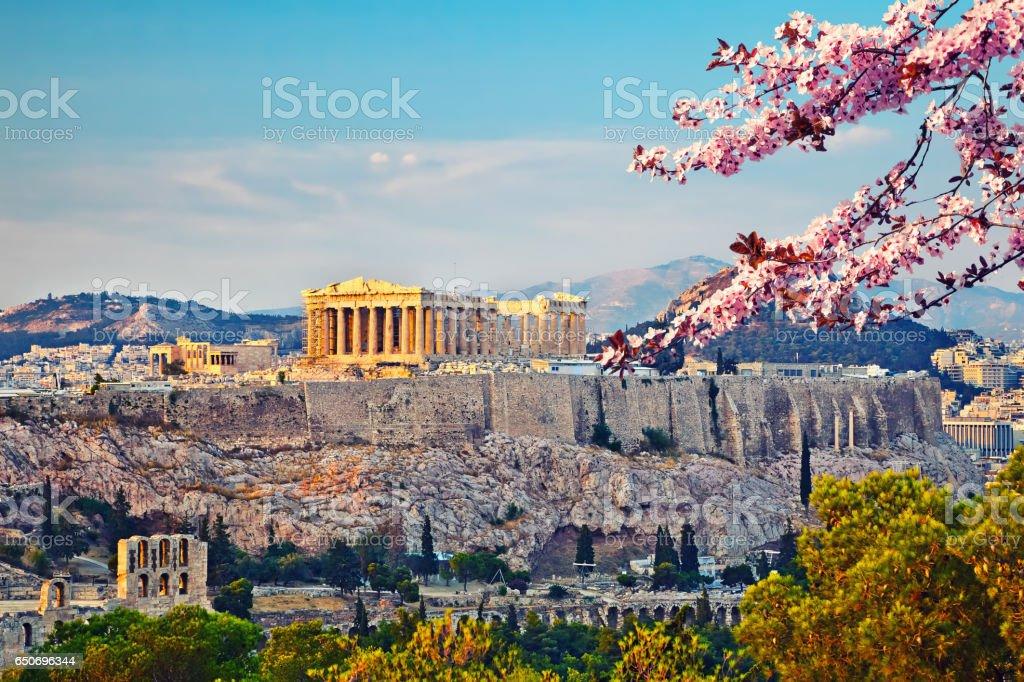 Akropolis in Athen im Frühjahr - Lizenzfrei Abenddämmerung Stock-Foto