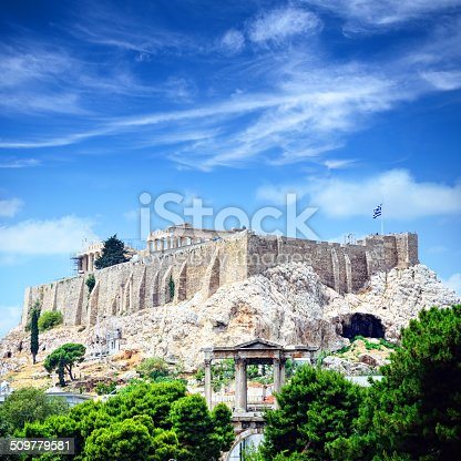 View of the Acropolis, including the Parthenon and the Arch of Hadrian, Athens, Greece. Compoite photo