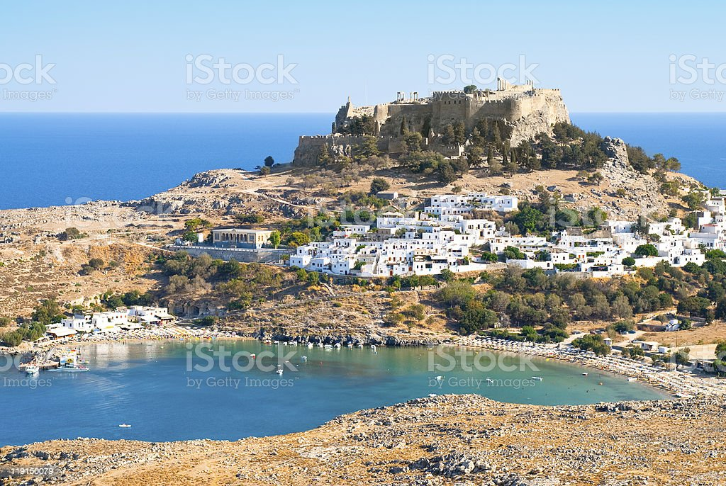 Acropolis in the ancient greek town Lindos stock photo