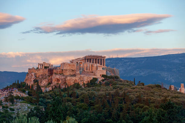 Acropolis of Athens at sunset stock photo