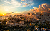 istock Acropolis of Athens at sunset with a beautiful dramatic sky 1008574568