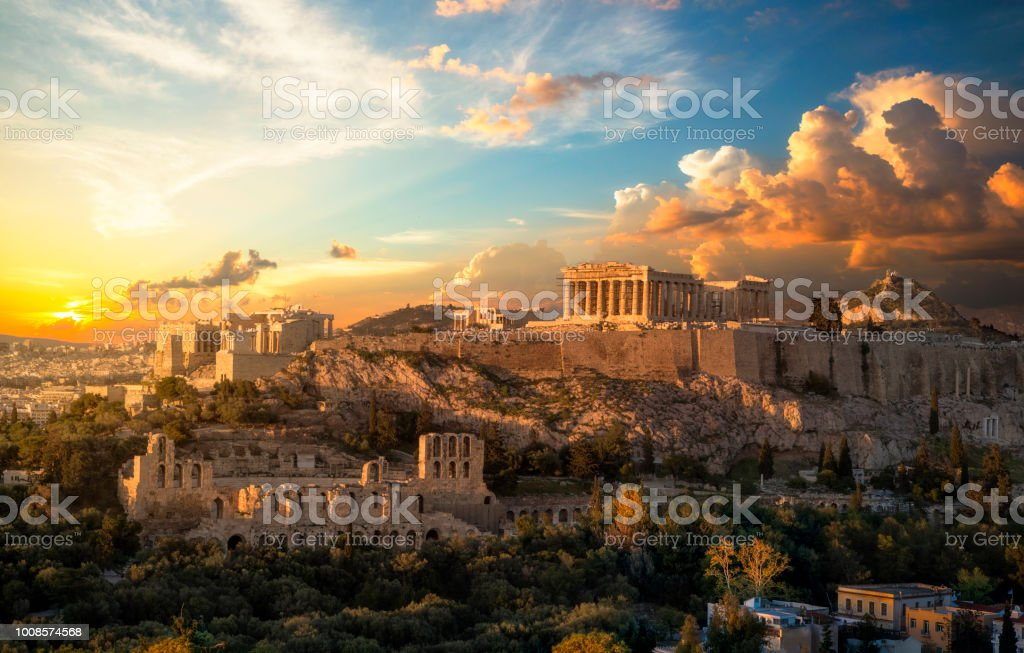Acropolis of Athens at sunset with a beautiful dramatic sky stock photo