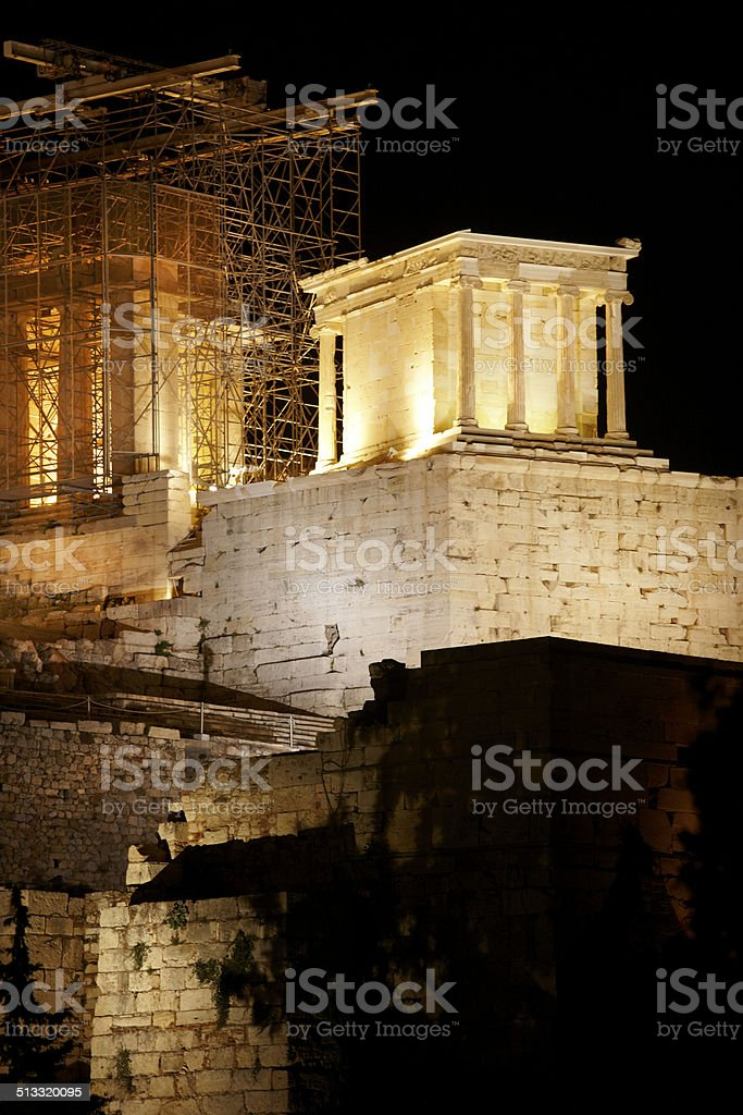Acropolis of Athens by night. Greece stock photo