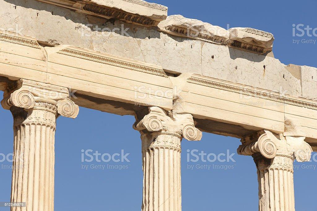 Acropolis of Athens. Erechtheion columns. Greece stock photo