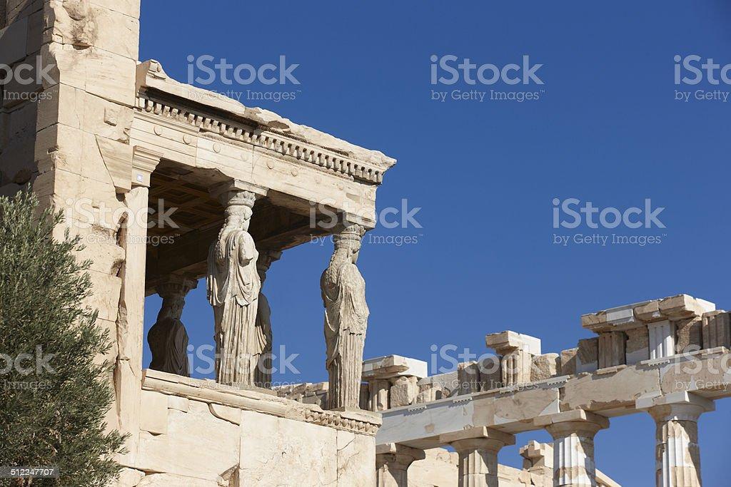 Acropolis of Athens. Older temple of Athena Polios and Parthenon stock photo