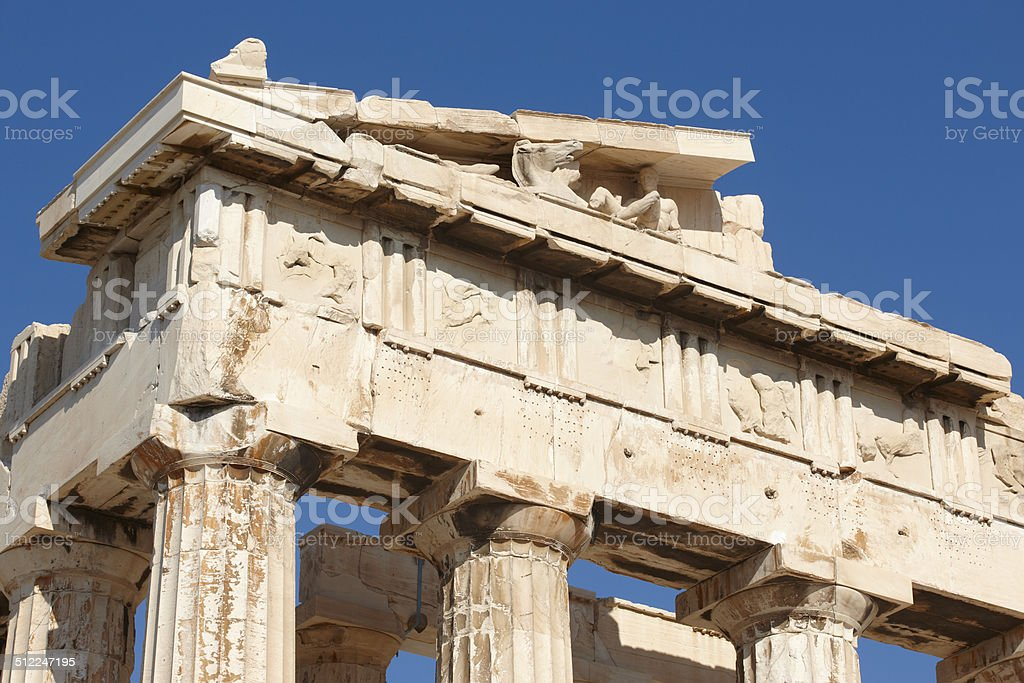 Acropolis of Athens. Parthenon frieze. Greece stock photo