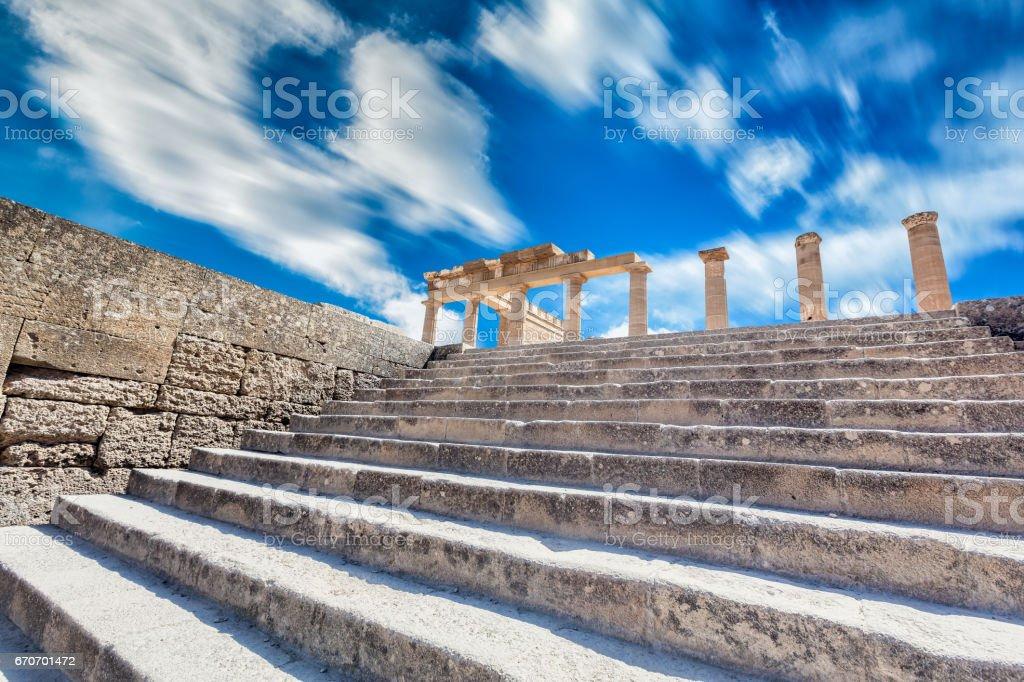 Acropolis of Lindos, island of Rhodes, Dodecanese, Greece stock photo