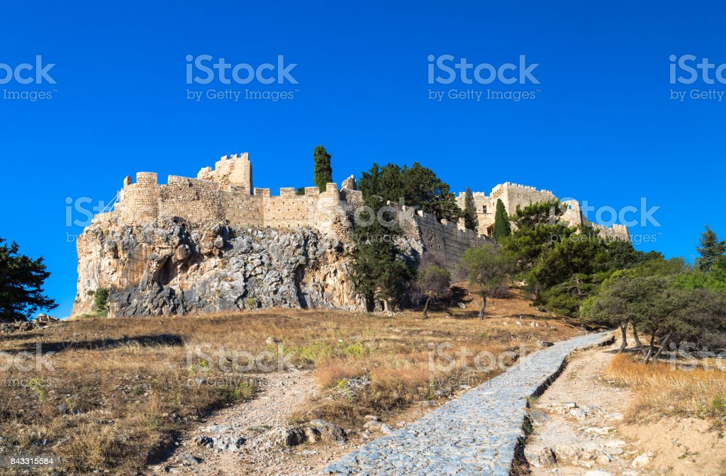 Acropolis of Lindos, Rhodes stock photo