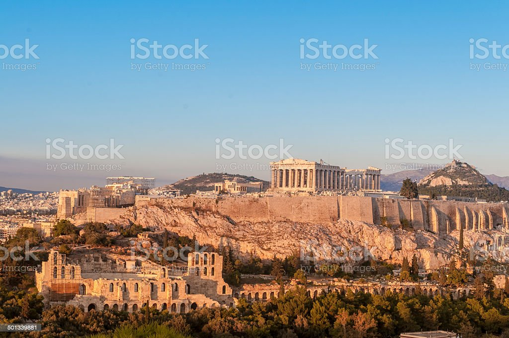Acropolis, Parthenon, Herodes Atticus Odeon, Lykavittos Hill, Athens, Greece stock photo