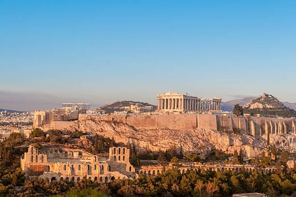 Acropolis, Parthenon, Herodes Atticus Odeon, Lykavittos Hill, Athens, Greece stock photo