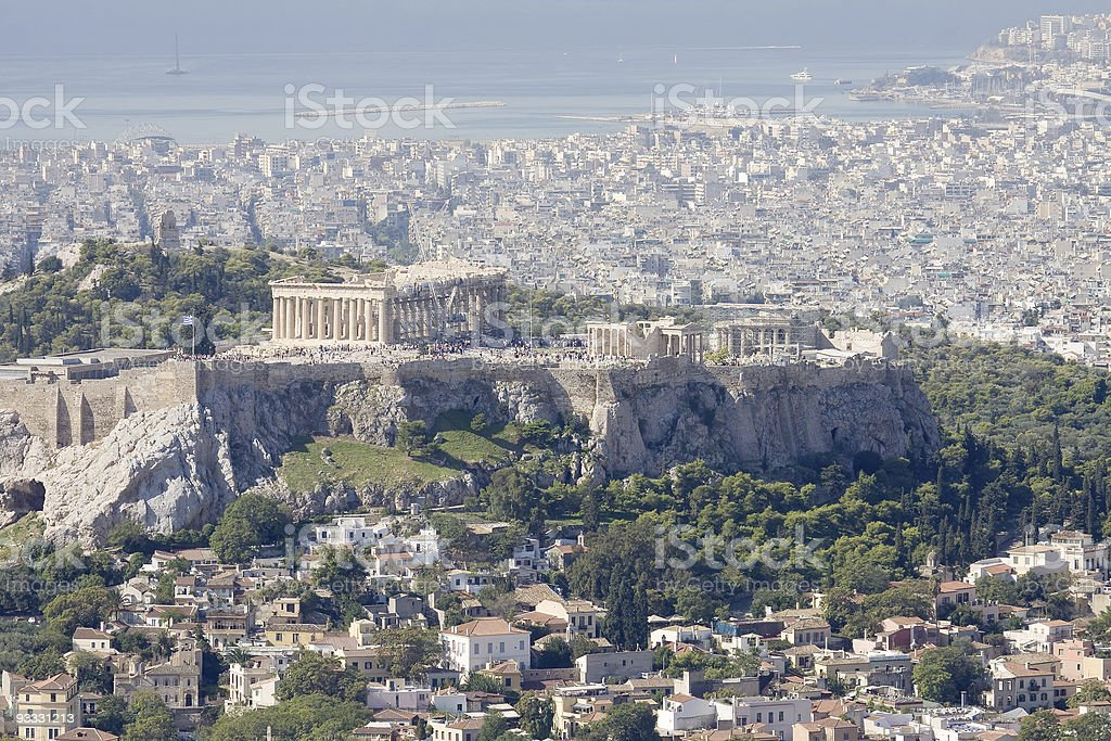 Acropolis, Plaka, and Saronic gulf, Athens stock photo