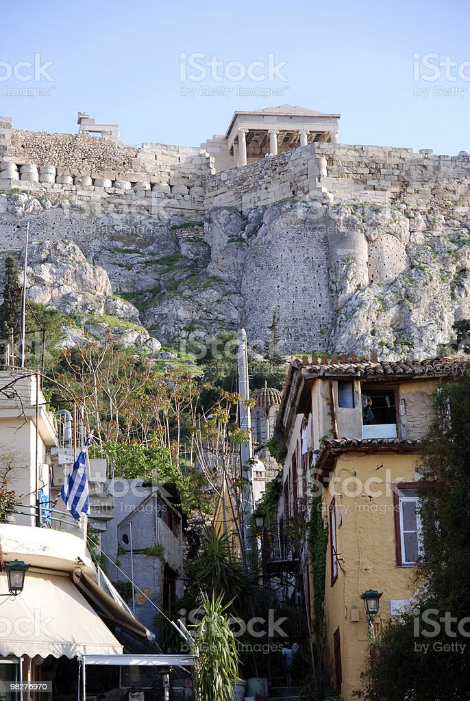 Acropolis seen from the old Plaka Center in Athens royalty-free stock photo