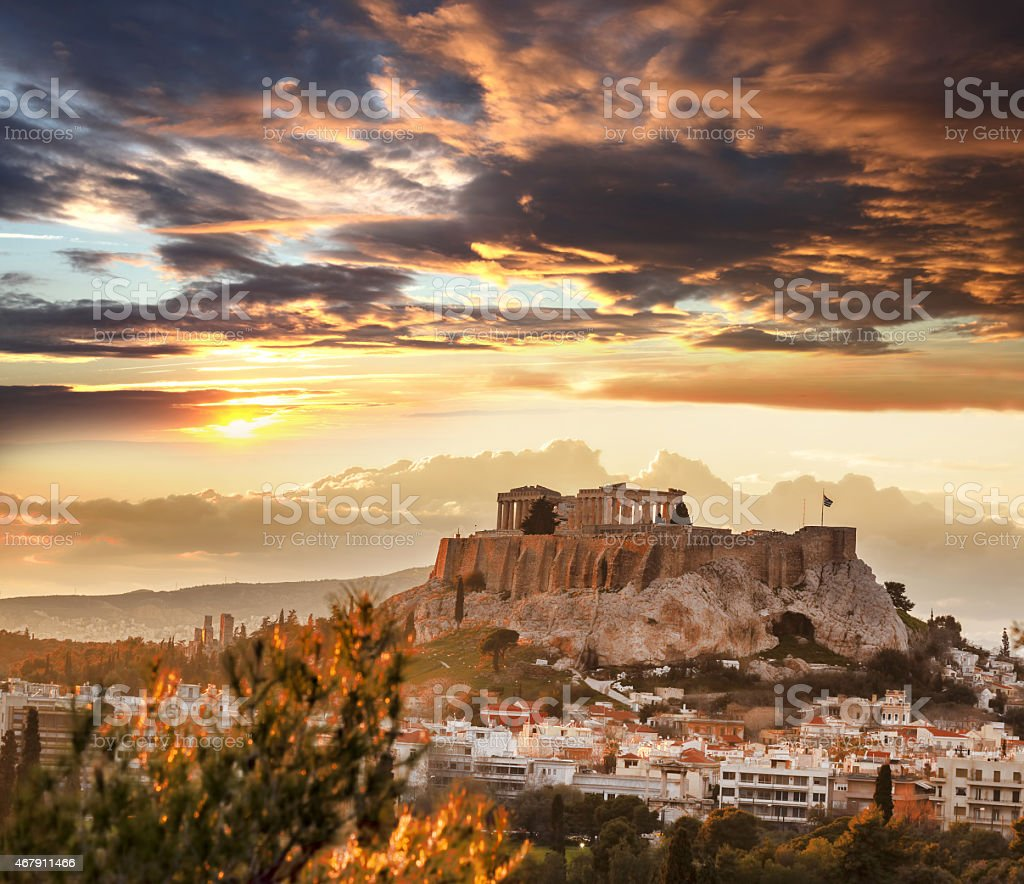 Acropolis with Parthenon Temple in Athens, Greece at dusk stock photo
