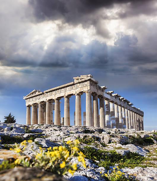 Acropolis with Parthenon temple in Athens,  Greece stock photo