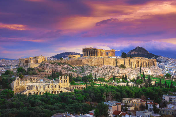 Acropolis with Parthenon, the theater of Herodion Atticus and cityscape, Athens, Greece. stock photo