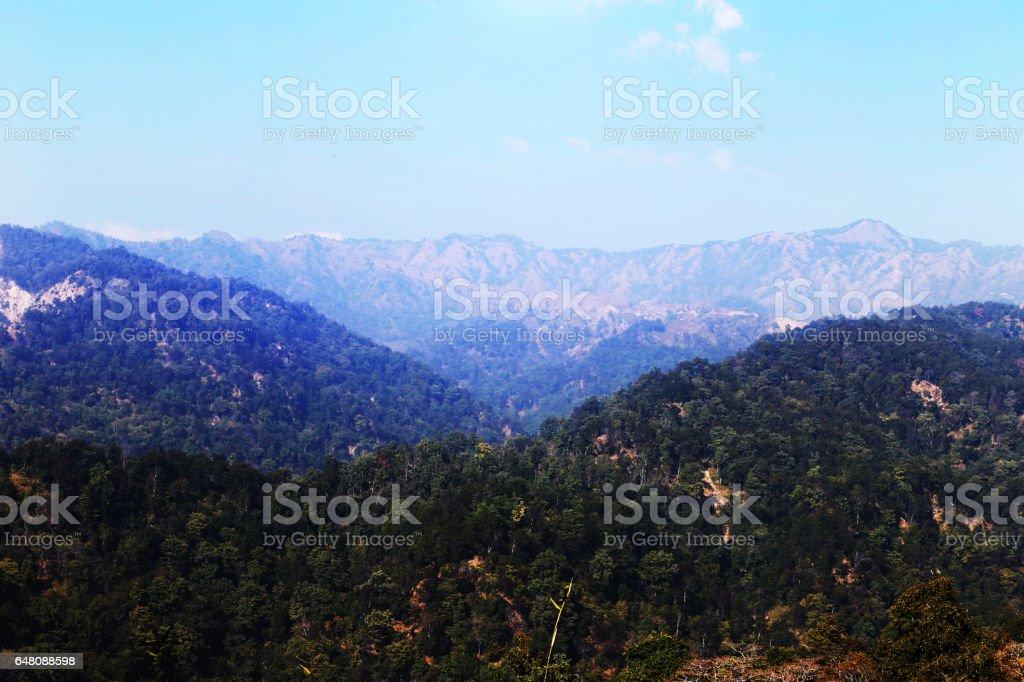 Across Beautiful Mountain View stock photo