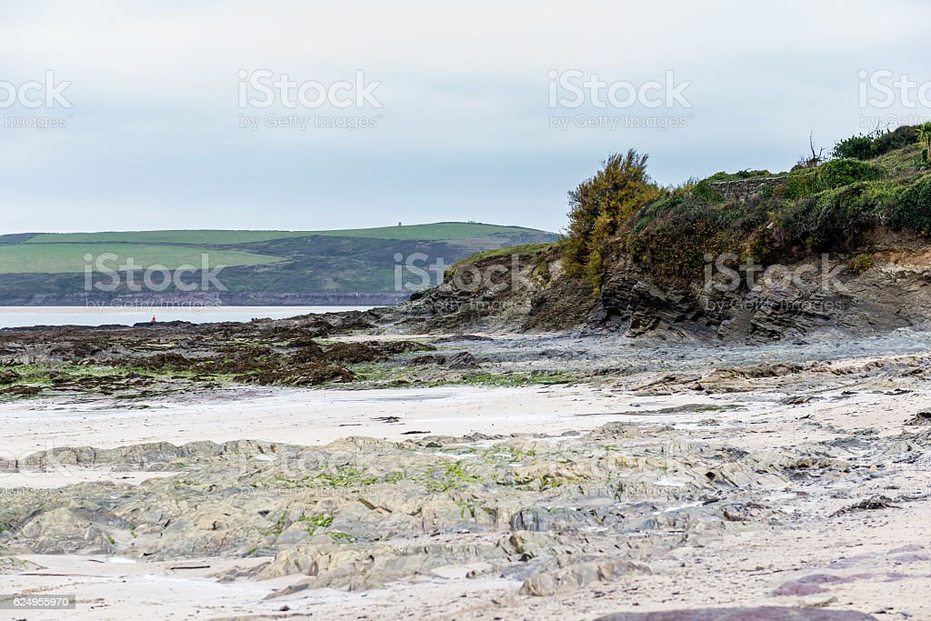Across Daymer Beach to Padstow Bay stock photo