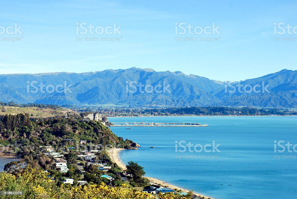 Across Golden Bay from Wainui Hill, Tasman District, New Zealand stock photo