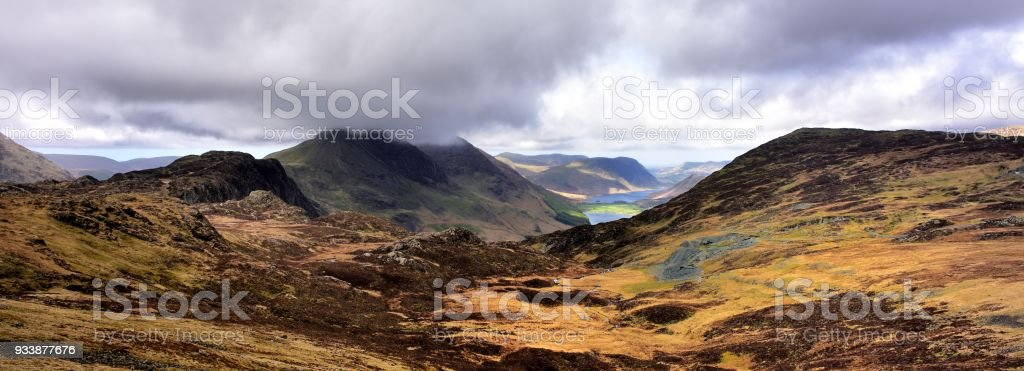 Across Haystacks to cloud covered Buttermere Fells stock photo