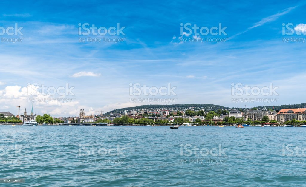 Across lake Zurich with copyspace stock photo