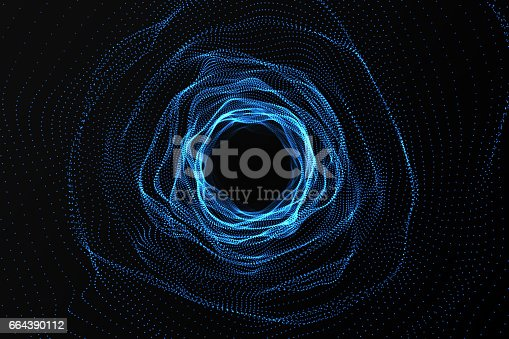 istock Across the universe. Traveling in space. Time travel. Scene of overcoming the temporary space in cosmos. 3d rendering 664390112