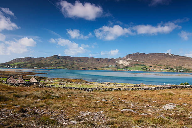 across the water from Glassillaun to Achill Island lifeboat station stock photo