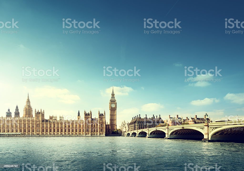 Across the water view of Big Ben in London on a sunny day stock photo