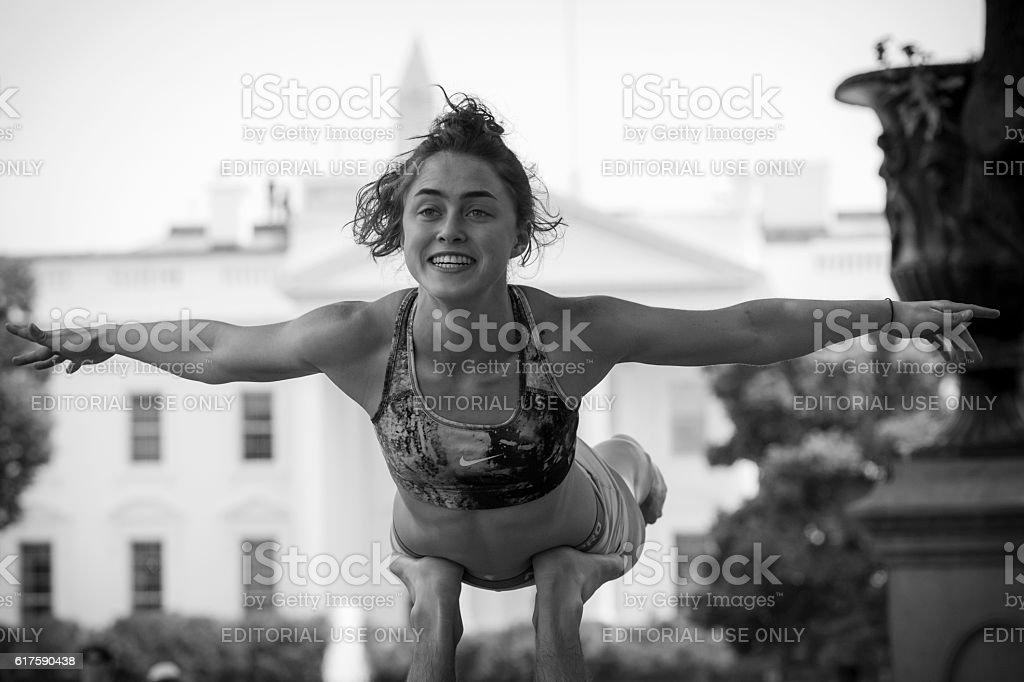 Acroyoga outside the White House stock photo