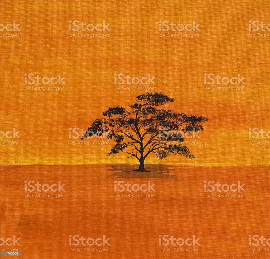 Acrylic Acacian in Africa stock photo