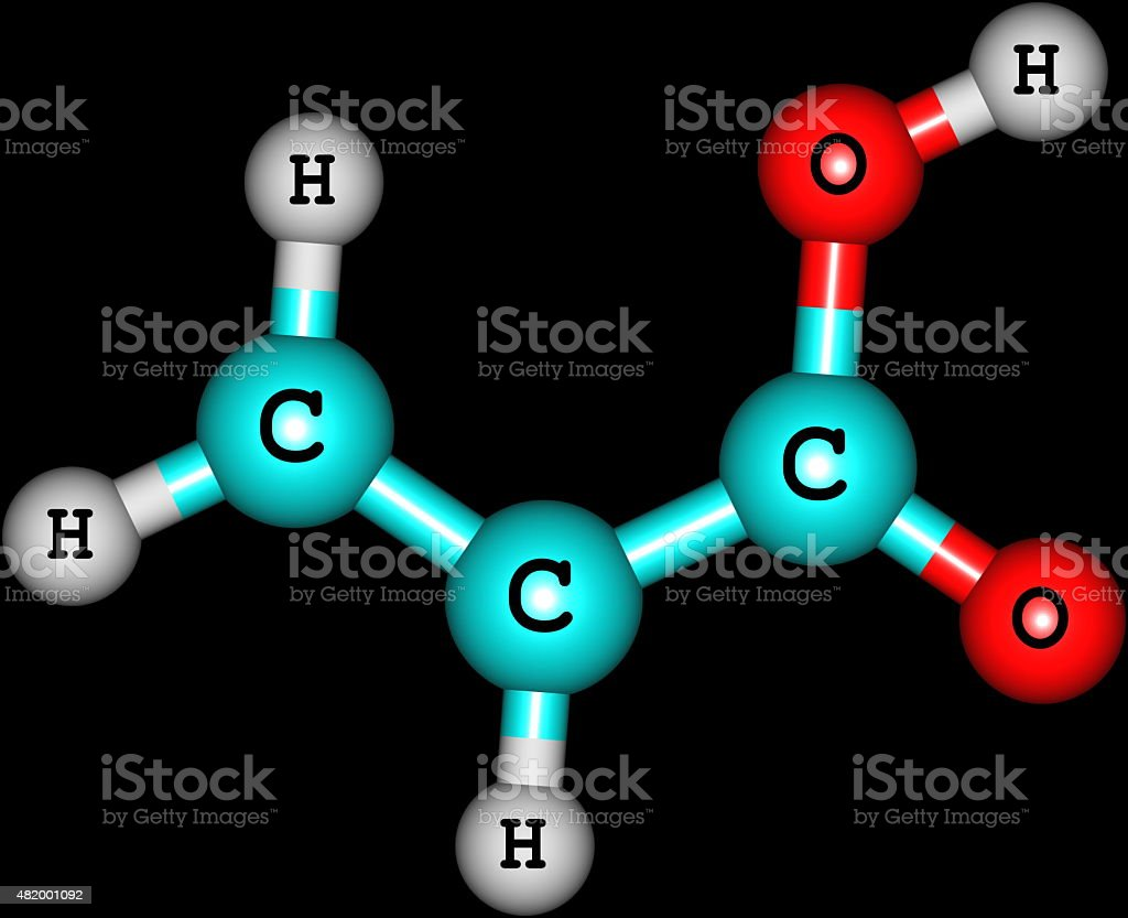 Acrylic acid molecule isolated on black stock photo