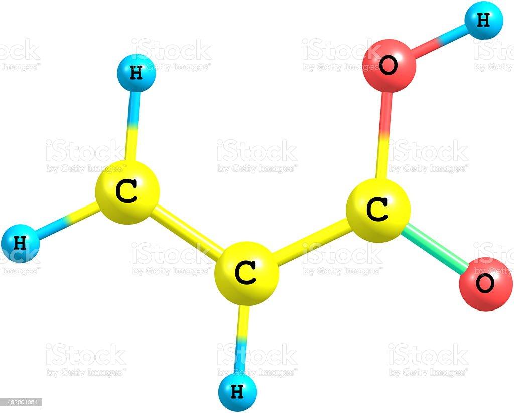 Acrylic acid molecule isolated on white stock photo