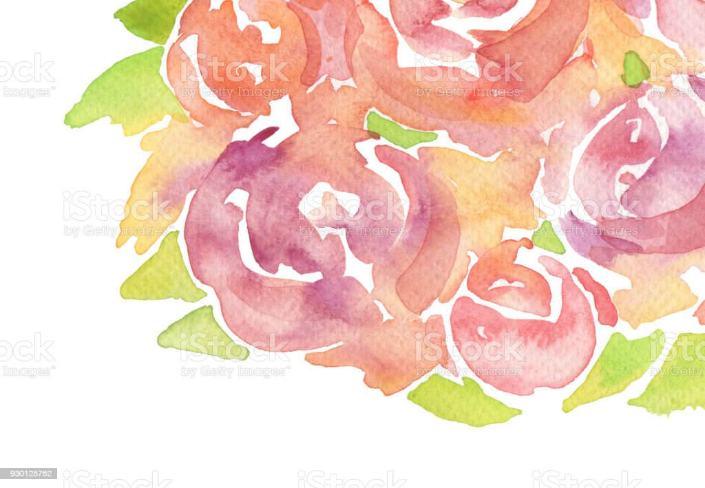 Acrylic and watercolor rose flower painted background. Isolated.