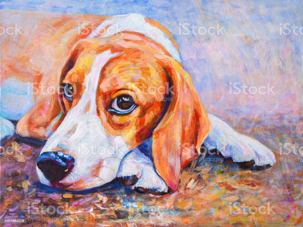 Acrylic Color Painting Of Beagle Dog On Canvas Stock Photo Download Image Now Istock
