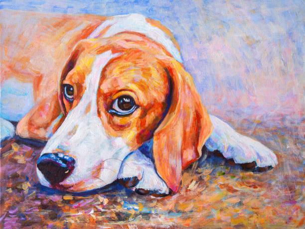 Acryl-Farbmalerei von Beagle Hund auf Leinwand. – Foto