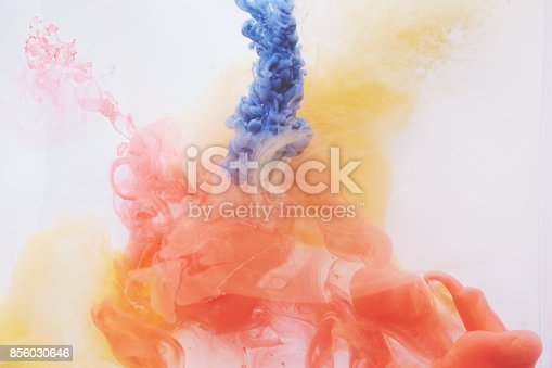 istock Acrylic color paints are in the water 856030646