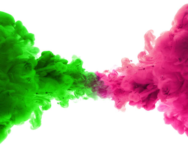 Acrylic colors and ink in water. Abstract background. Isolated. stock photo