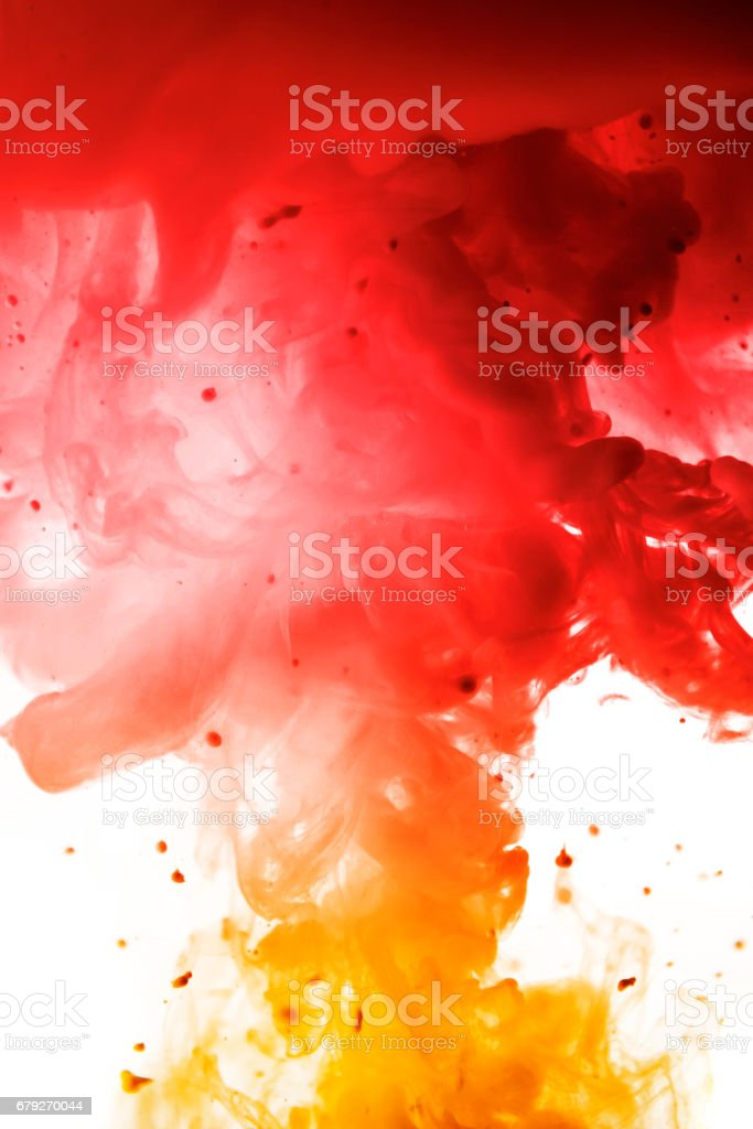 Acrylic colors and ink in water. Abstract frame background. Isolated on white. foto de stock royalty-free