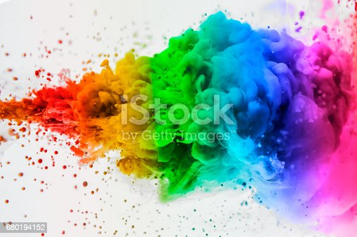istock Acrylic colors and ink in water. Abstract frame background. Isolated on white. 680194152