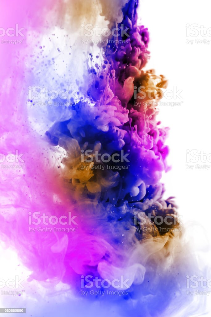 Acrylic colors and ink in water. Abstract frame background. Isolated on white. royalty-free stock photo