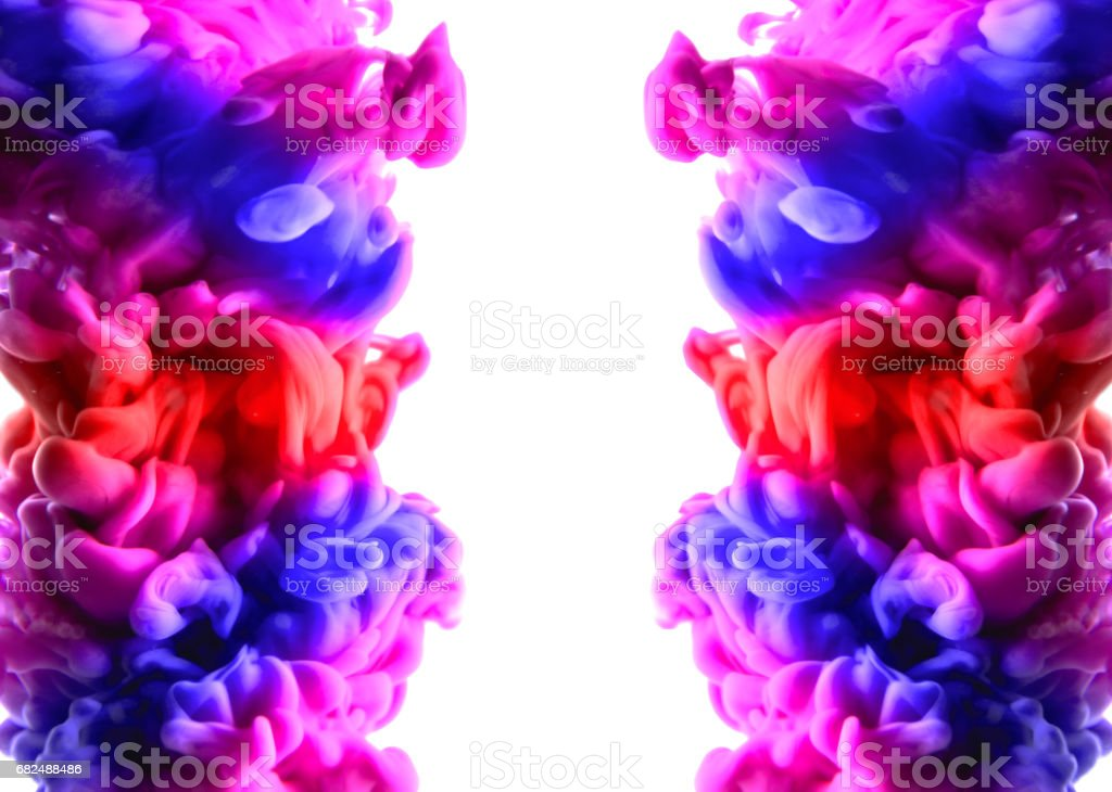 Acrylic colors and ink in water. Abstract frame background. Isolated on white Стоковые фото Стоковая фотография