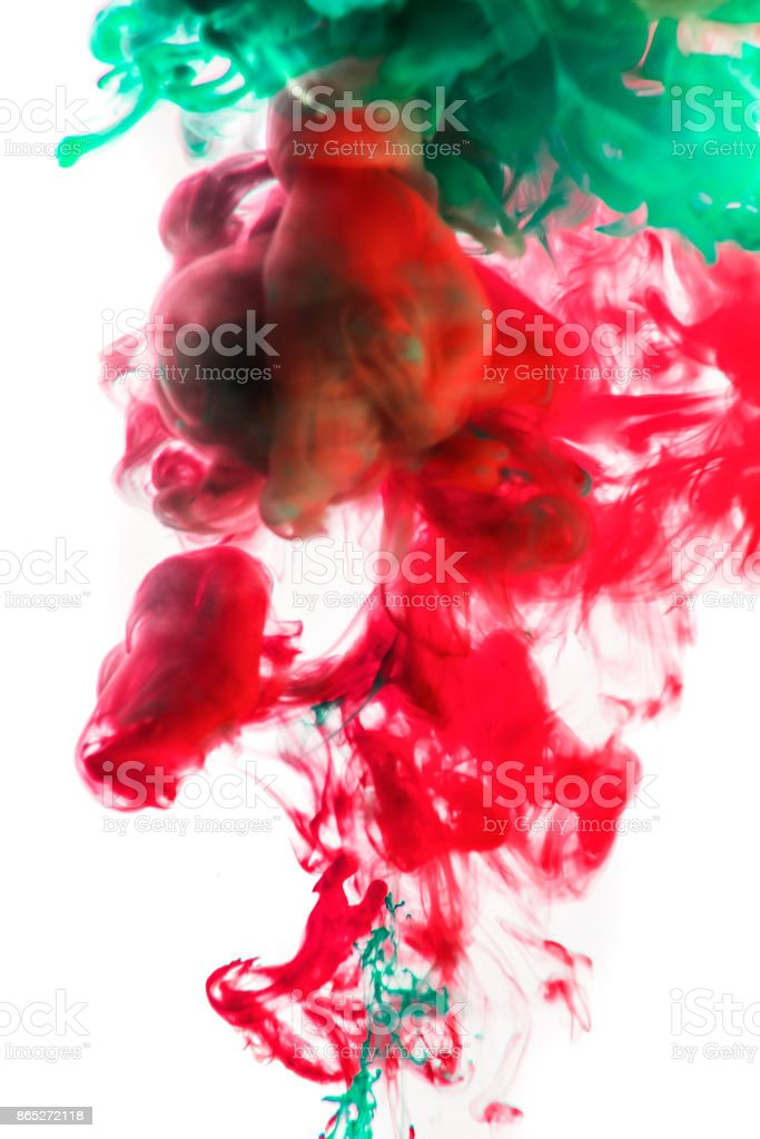 Acrylic colors and ink in water. Abstract frame background. Isolated on white stock photo