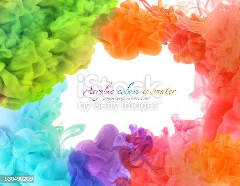 istock Acrylic colors in water. Abstract background. 530490209