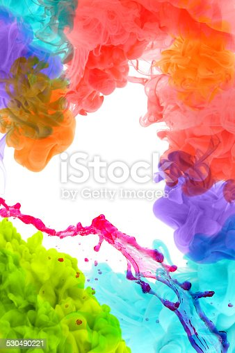 istock Acrylic colors in water. Abstract background. 530490221