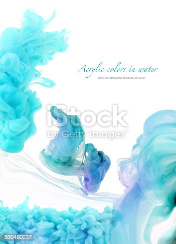 istock Acrylic colors in water. Abstract background. 530490237