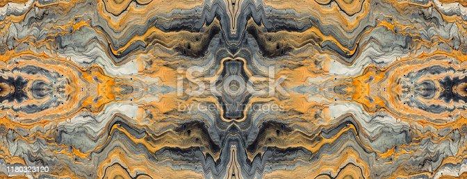 Acrylic Fluid Art. Golden wave and curls. Luxury Marbleized effect kaleidoscope.