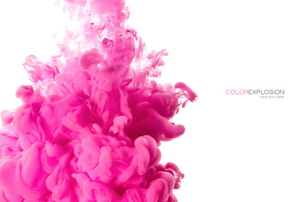 acrylic ink in water. color explosion - magenta stock photos and pictures
