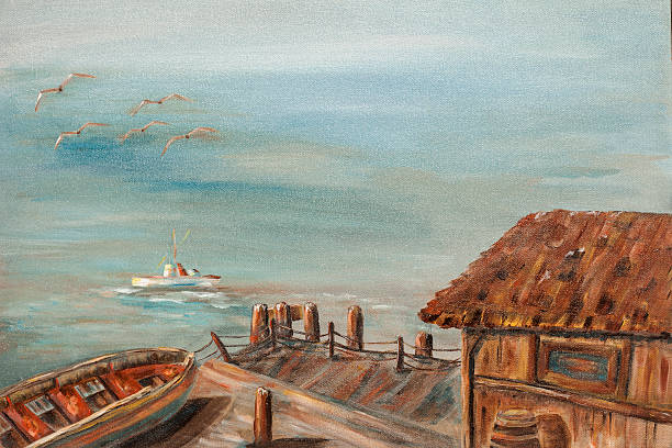 acrylic oil painting of boat and dock with ocean. - impressionist painting stock photos and pictures