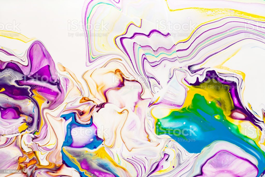 Acrylic Paint Waves Abstract Background Rainbow Marble